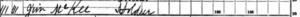 """Image of James """"Jim """" McKee 1890 Veterans Schedule"""